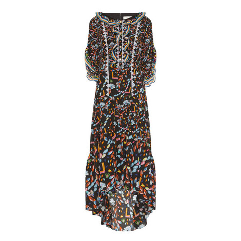Printed Silk Gown, ${color}