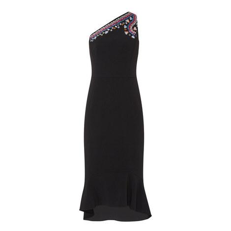 Embroidered One-Shoulder Dress, ${color}