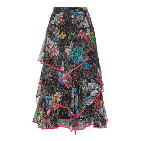 Floral Print Ruffle Midi Skirt, ${color}