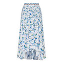 Bird Print Step Hem Skirt, ${color}