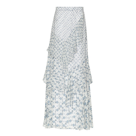 Print Silk Maxi Skirt, ${color}
