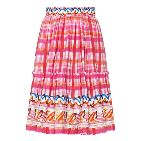 Frill Detail Check Skirt, ${color}