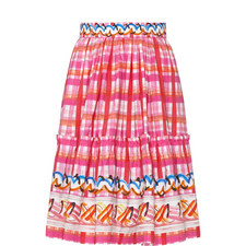 Frill Detail Check Skirt