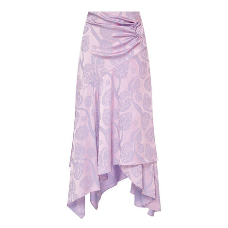 Satin Jacquard Wrap Skirt, ${color}
