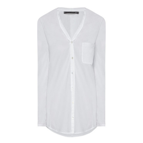 Stretch Cotton V-Neck Shirt, ${color}
