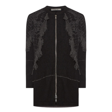 Lace Effect Zipped Cardigan, ${color}