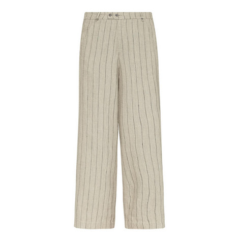 Linen Stripe Wide Fit Trousers, ${color}