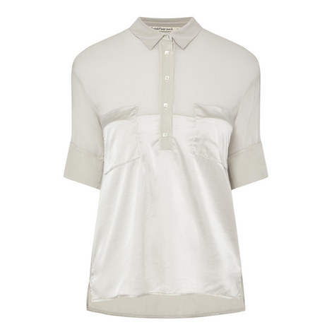 Short-Sleeved Silk Shirt , ${color}