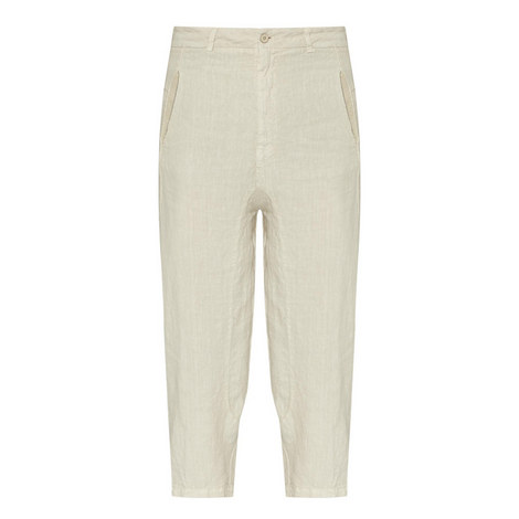 Cropped Linen Trousers, ${color}