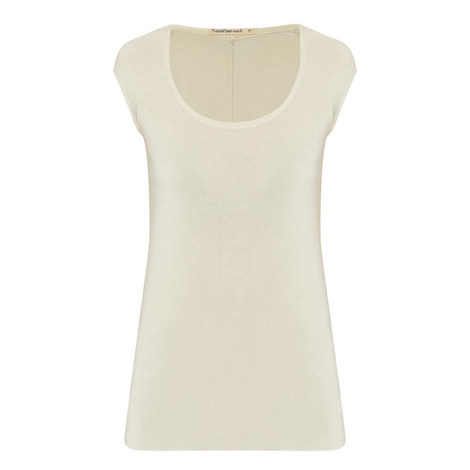 Raw Hem Cap Sleeve T-Shirt, ${color}