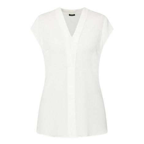 V-Neck Short-Sleeved Blouse, ${color}