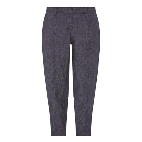 Denim Linen Ankle Trousers, ${color}