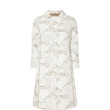 Jacquard Flower Print Coat
