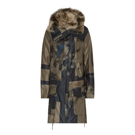 Coma Printed Parka Jacket, ${color}
