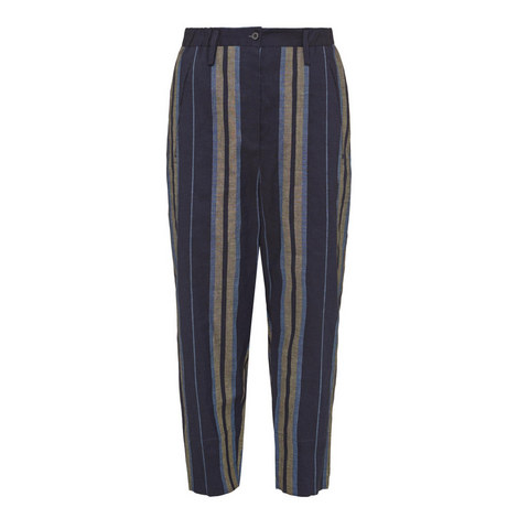 Cropped Stripe Trousers, ${color}