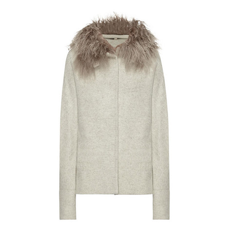 Shearling Collar Wool Jacket, ${color}