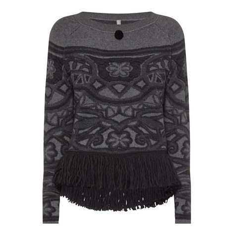 Fascination Fringed Hem Intarsia Sweater, ${color}