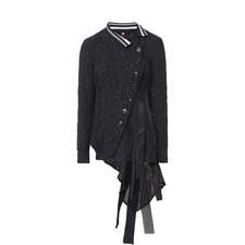 Buttoned Asymmetric Drape Cardigan