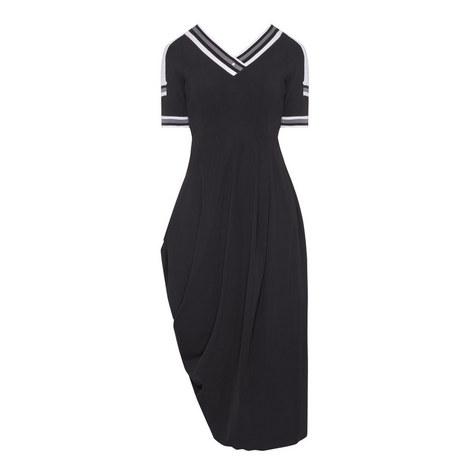 Stripe Trim V-Neck Dress, ${color}