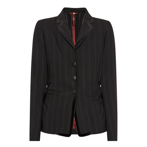 Pinstripe Ruched Jacket, ${color}