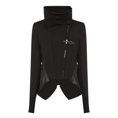Funnel Neck Asymmetrical Jacket, ${color}