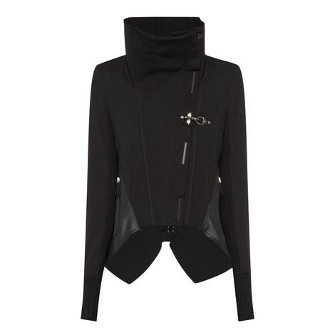 Funnel Neck Asymmetrical Jacket, ${color}