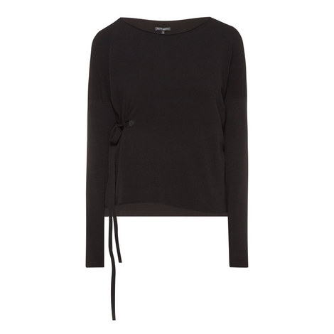 Self-Tie Long Sleeve Sweater, ${color}