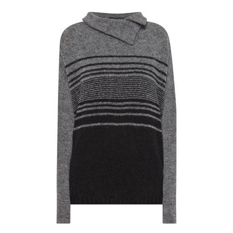 Relaxed Lurex Stripe Sweater, ${color}