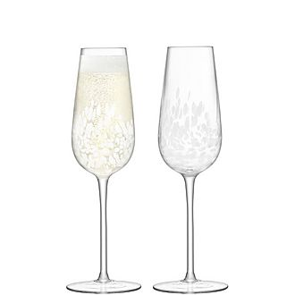 Set of Two Stipple Champagne Flutes 250ml