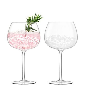 Set of Two Stipple Balloon Goblets