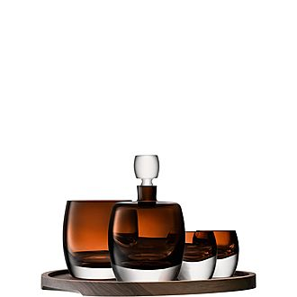 Whisky Club Connoisseur Set & Walnut/Cork Serving Tray