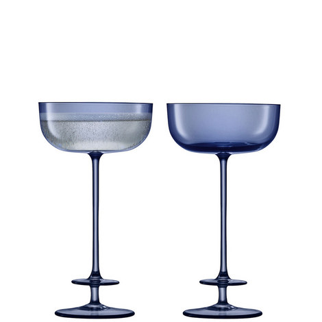 Set of 2 Blue Champagne Saucers, ${color}
