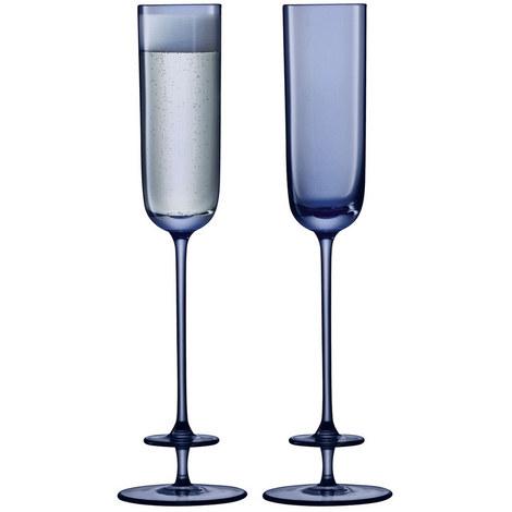 Set of 2 Blue Champagne Flutes, ${color}