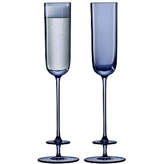 Set of 2 Blue Champagne Flutes