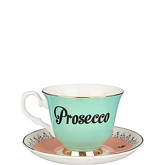 Prosecco Tea Cup and Saucer
