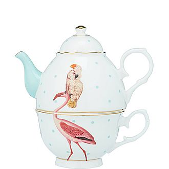 Parrot and Flamingo Tea For One Teapot
