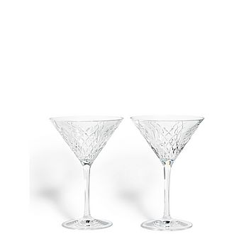 Set of Two Barwell Cut Crystal Martini Glasses