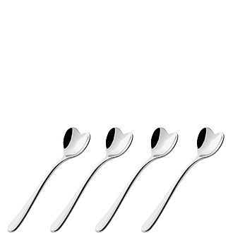 Set of Four Heart Coffee Spoons