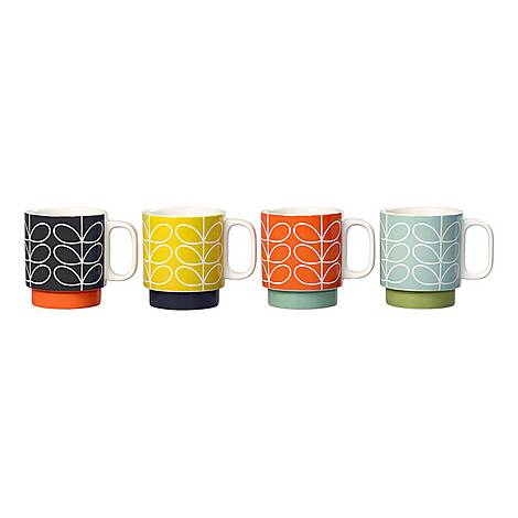 Set of Four Linear Steam Stacking Mugs, ${color}