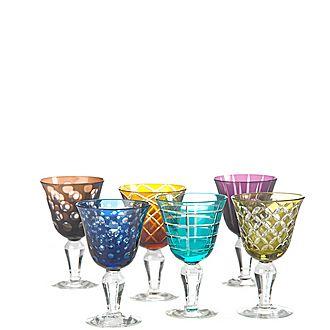 Set of Six Cuttings Wine Glasses