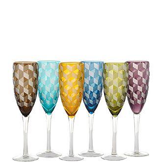 Set of Six Blocks Champagne Flutes