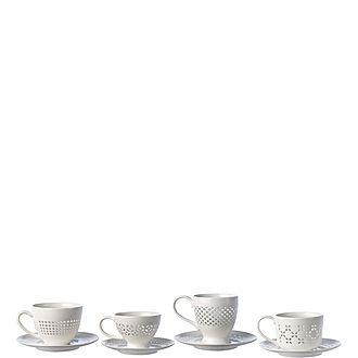 Set of Four Pierced Cup & Saucer Set