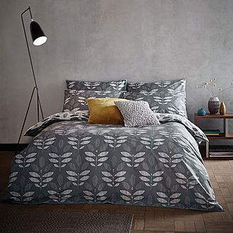 Leaf Duvet Set Grey