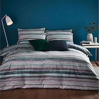 Painted Stripe Duvet Set Slate