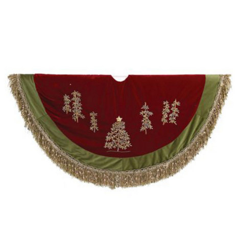 Tassel Detail Embroidered Tree Skirt, ${color}