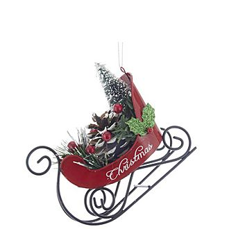 Sled With Trees Hanging Decoration