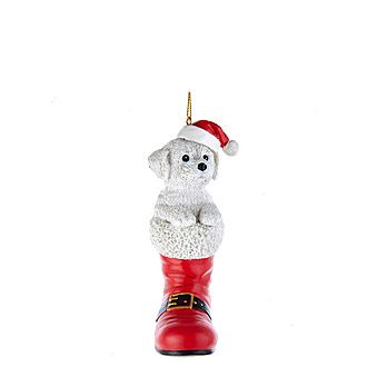 Bichon in Boot Tree Decoration