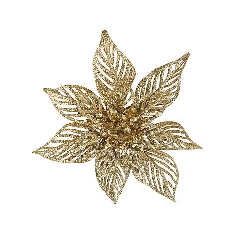 Glitter Poinsettia Clip Decoration, ${color}