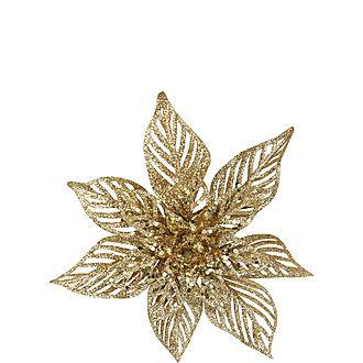 Glitter Poinsettia Clip Decoration