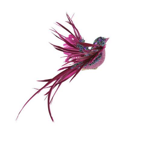 Feather Bird Clip Decoration, ${color}